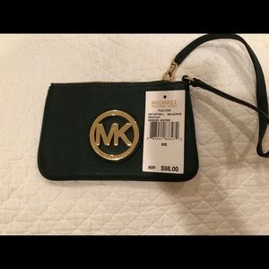 NWT Michael Kors wristlet, forest green leather
